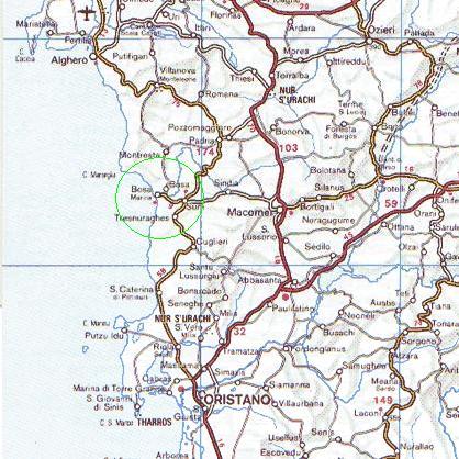 Sardegna Ovest Cartina.Mappa Zona Di Bosa Ovest Sardegna