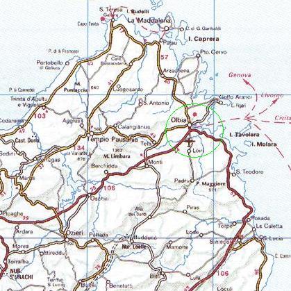 Cartina Nord Sardegna.Mappa Zona Di Olbia Nord Est Sardegna